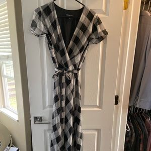 Black and white/gray checkered sparkly dress
